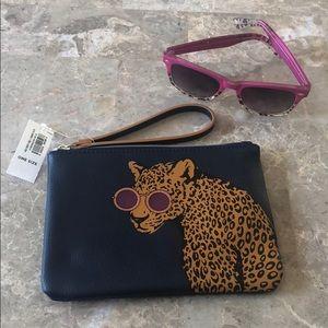 NWT Leopard Wearing Glasses Wristlet